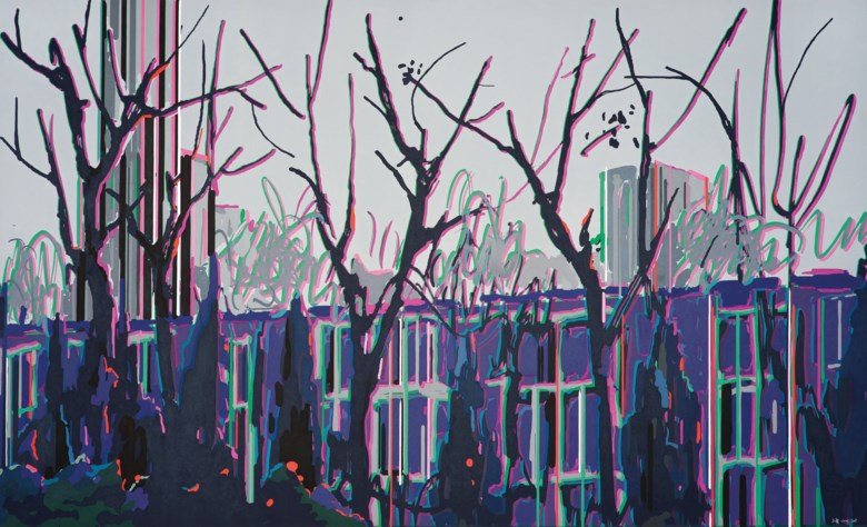 Liu Wei (b. 1972), Purple Air I No. 10, 2007. Oil on canvas, 180 x 300 cm  (70⅞  x 118⅛ in). Sold for CNY 1,830,000 on 24 October 2014 at Christie's in Shanghai
