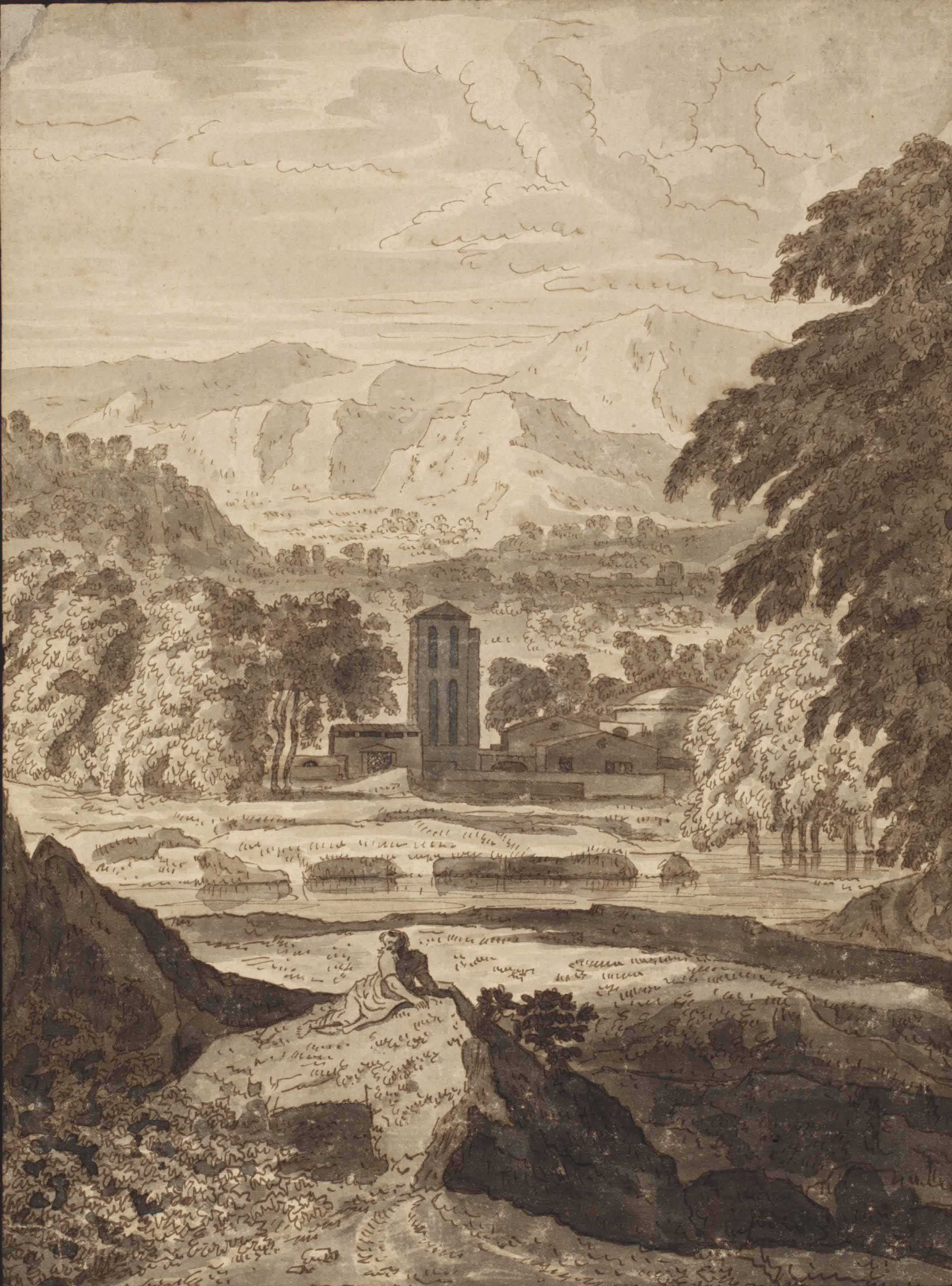 An Italianate landscape with buildings near a river and a figure seated on a rock in the foreground