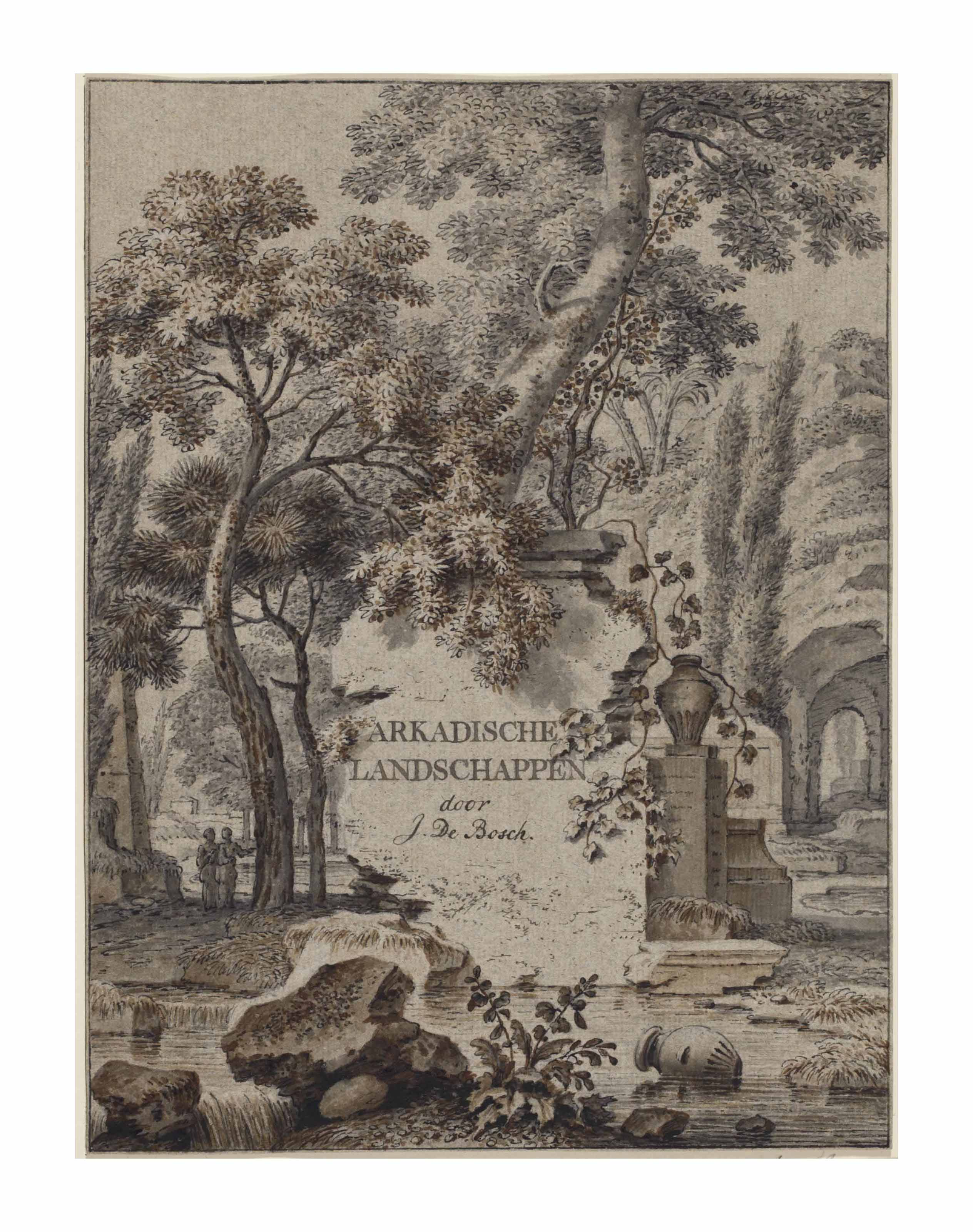 Design for a title page: 'Arkadische landschappen'