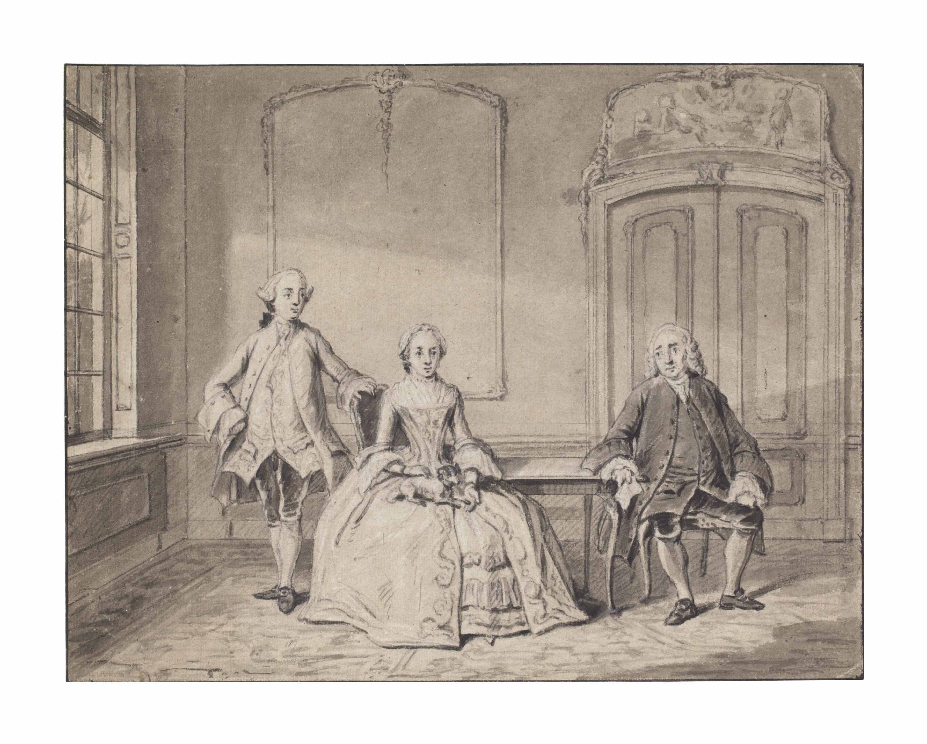 A group portrait in an interior: Cornelis van den Broek, his wife Lucia Cornelia Allard and their son Cornelis van den Broek