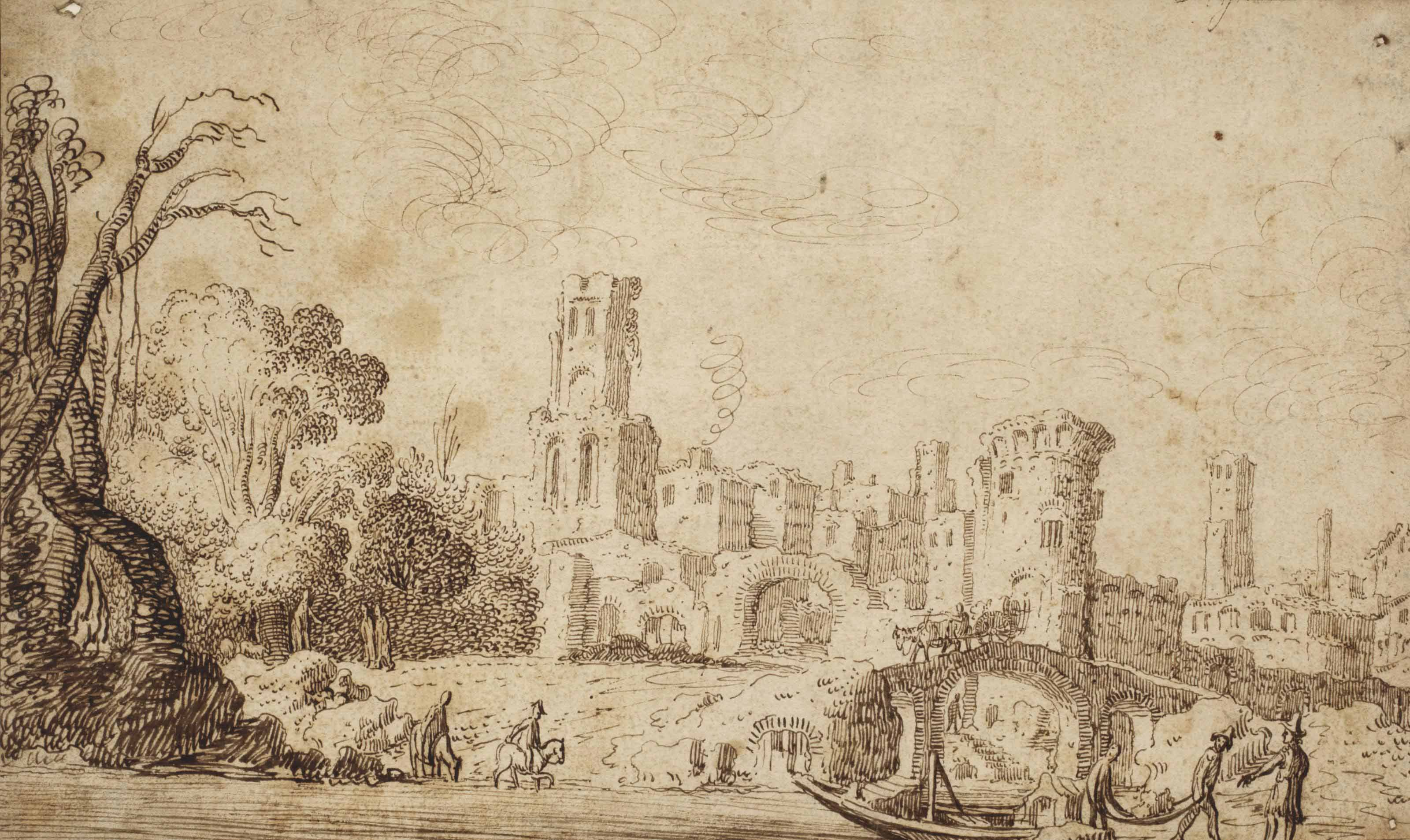 Figures in a river landscape with ruins