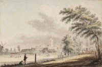 View of Noordwijk-Binnen, with two men drawing in the foreground (recto); Sketch of Noordwijk aan Zee seen from the beach (verso)