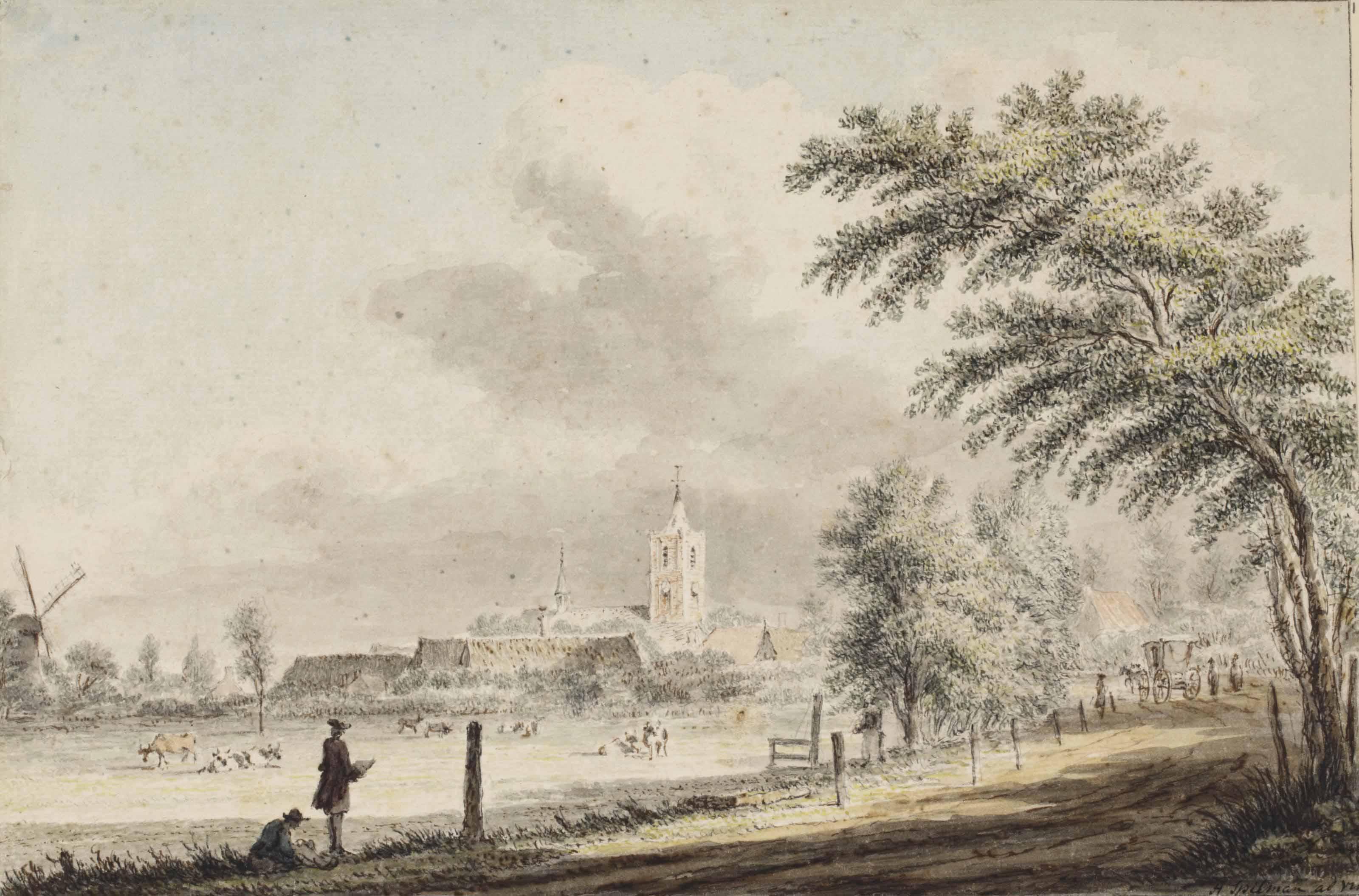 View of Noordwijk-Binnen, with two men drawing in the foreground (recto); Sketch of Noordwijk aan Zee seen from the beach (verso)