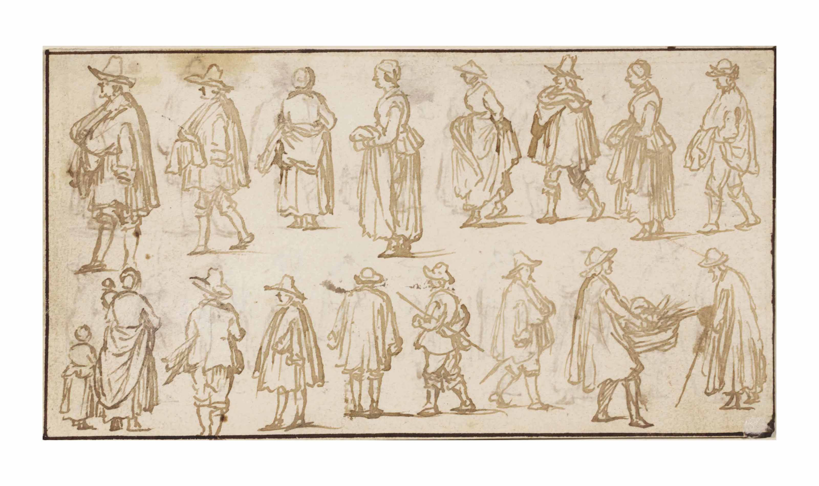 A double-sided sheet of figure studies (verso, pl. 15)