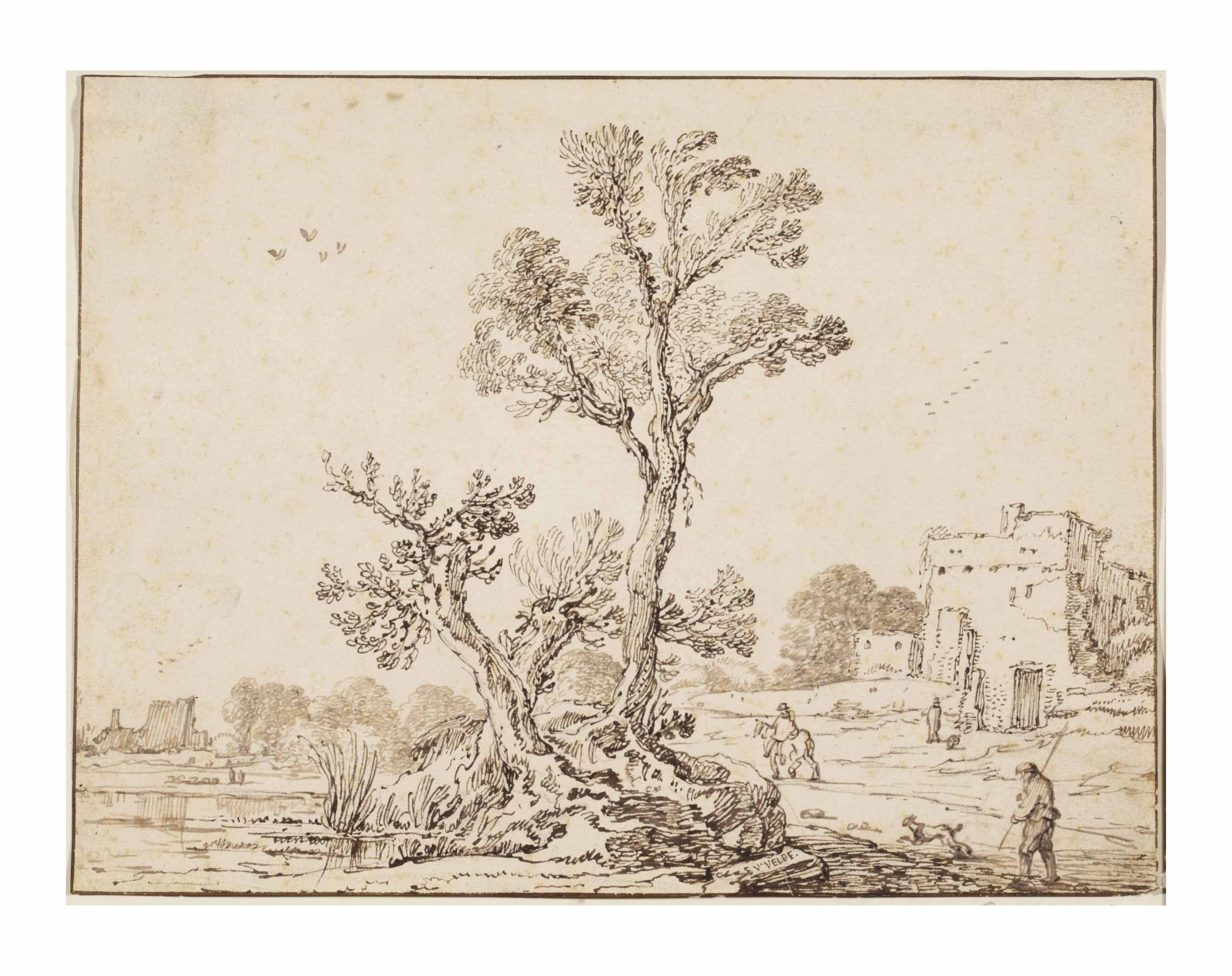 A landscape with a group of trees by a river