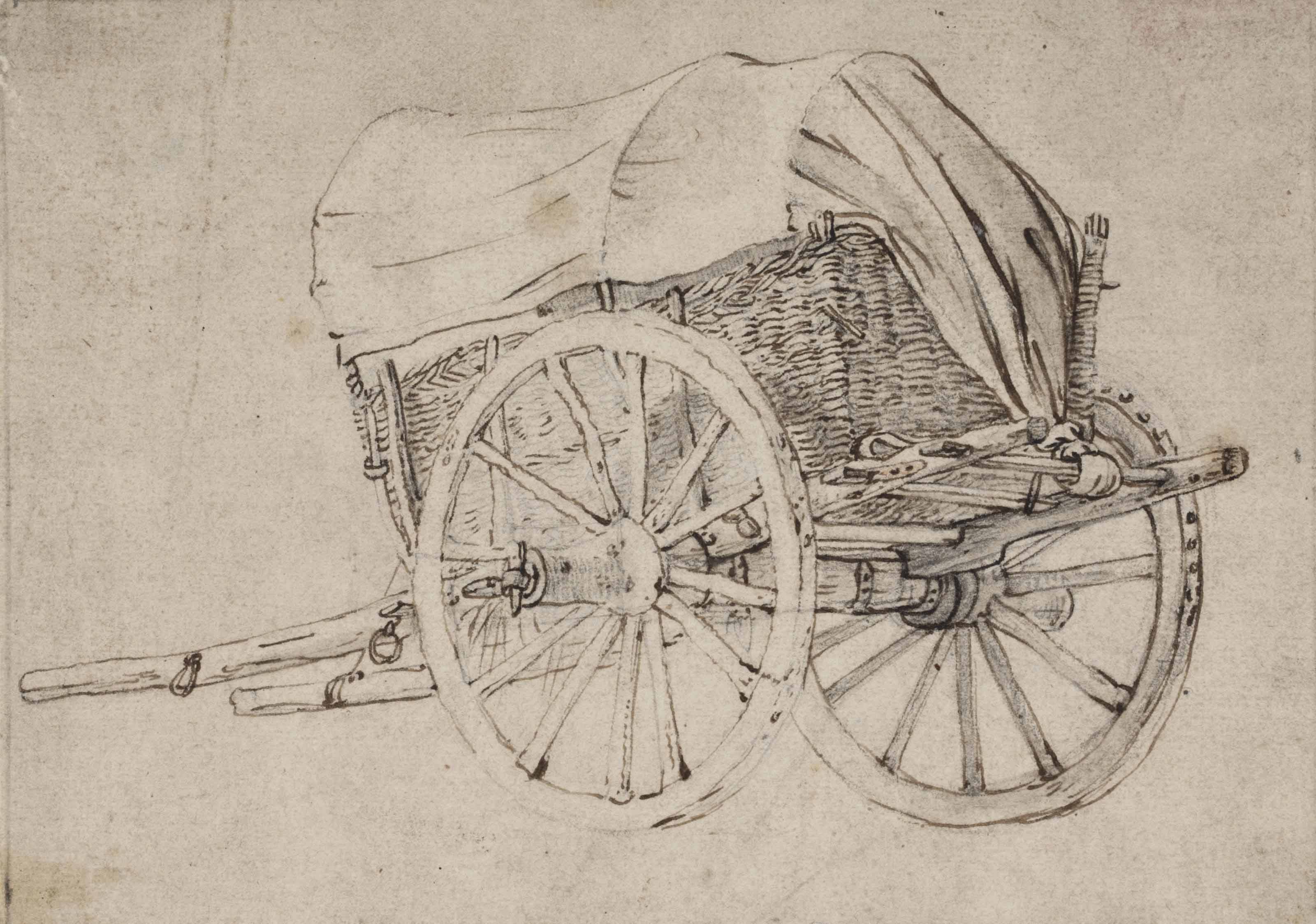 A two-wheeled covered wagon, seen from the side