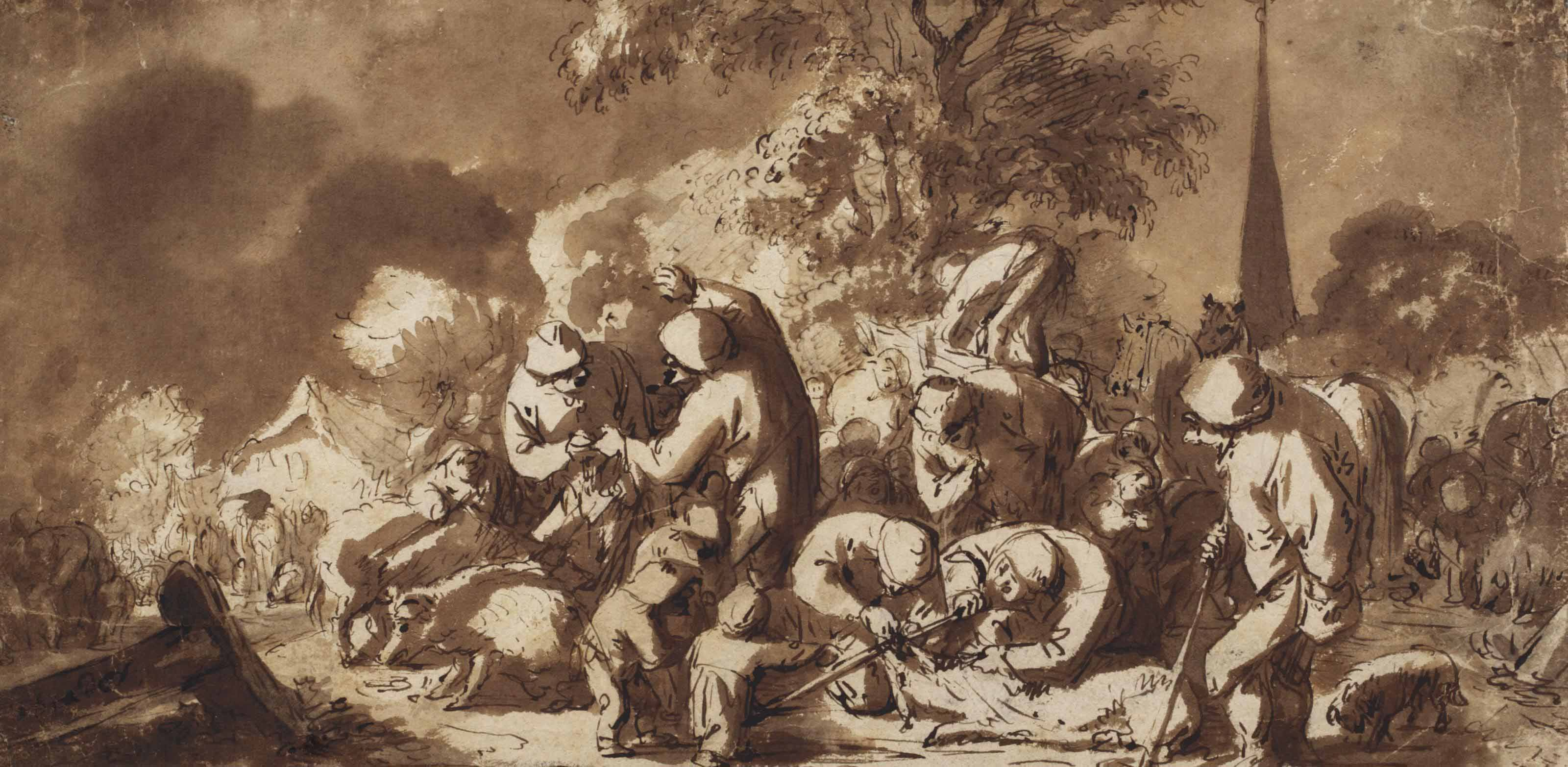 A market scene with the slaughter of a pig