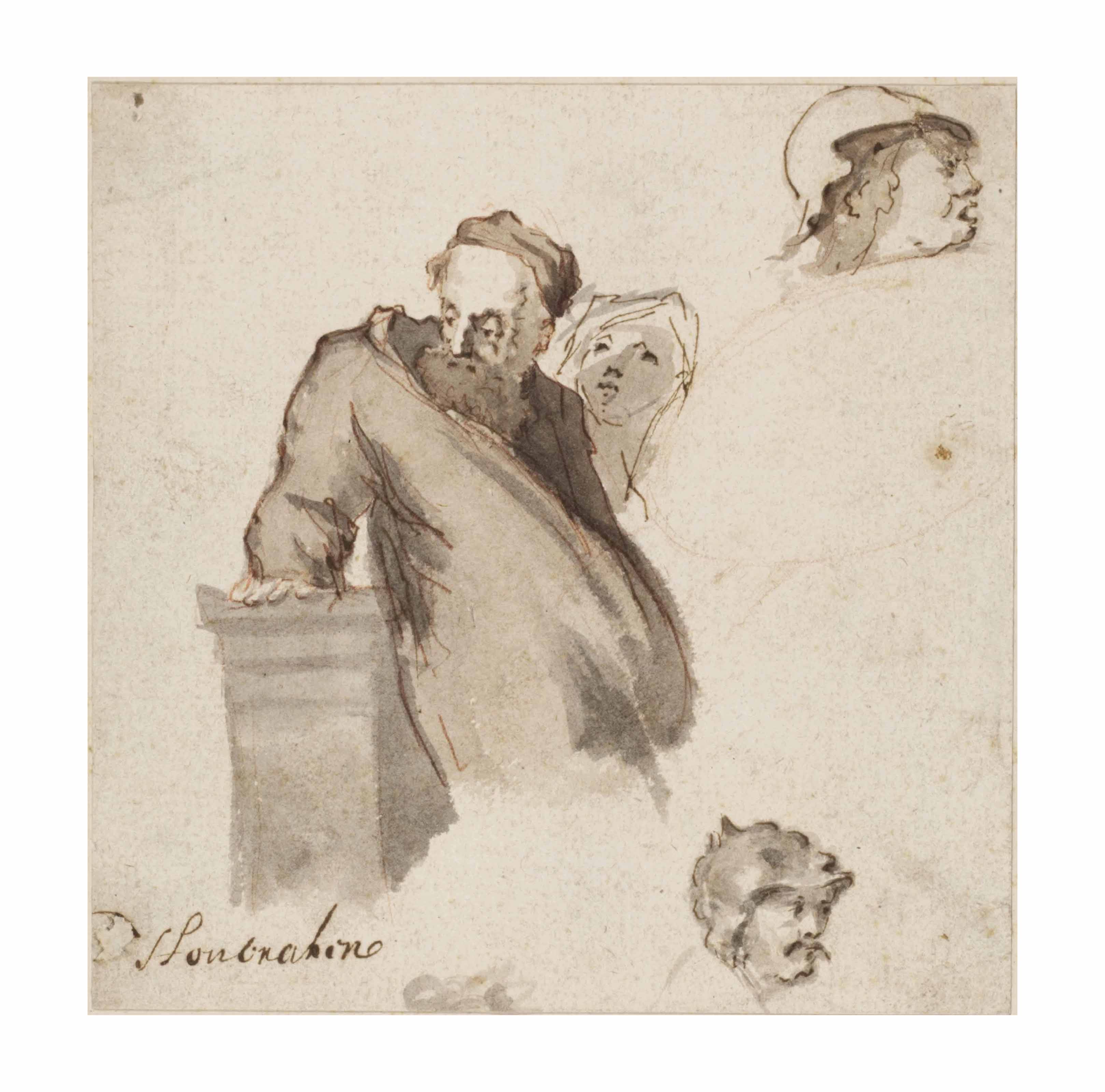A sheet of studies with a bearded man leaning on a plinth
