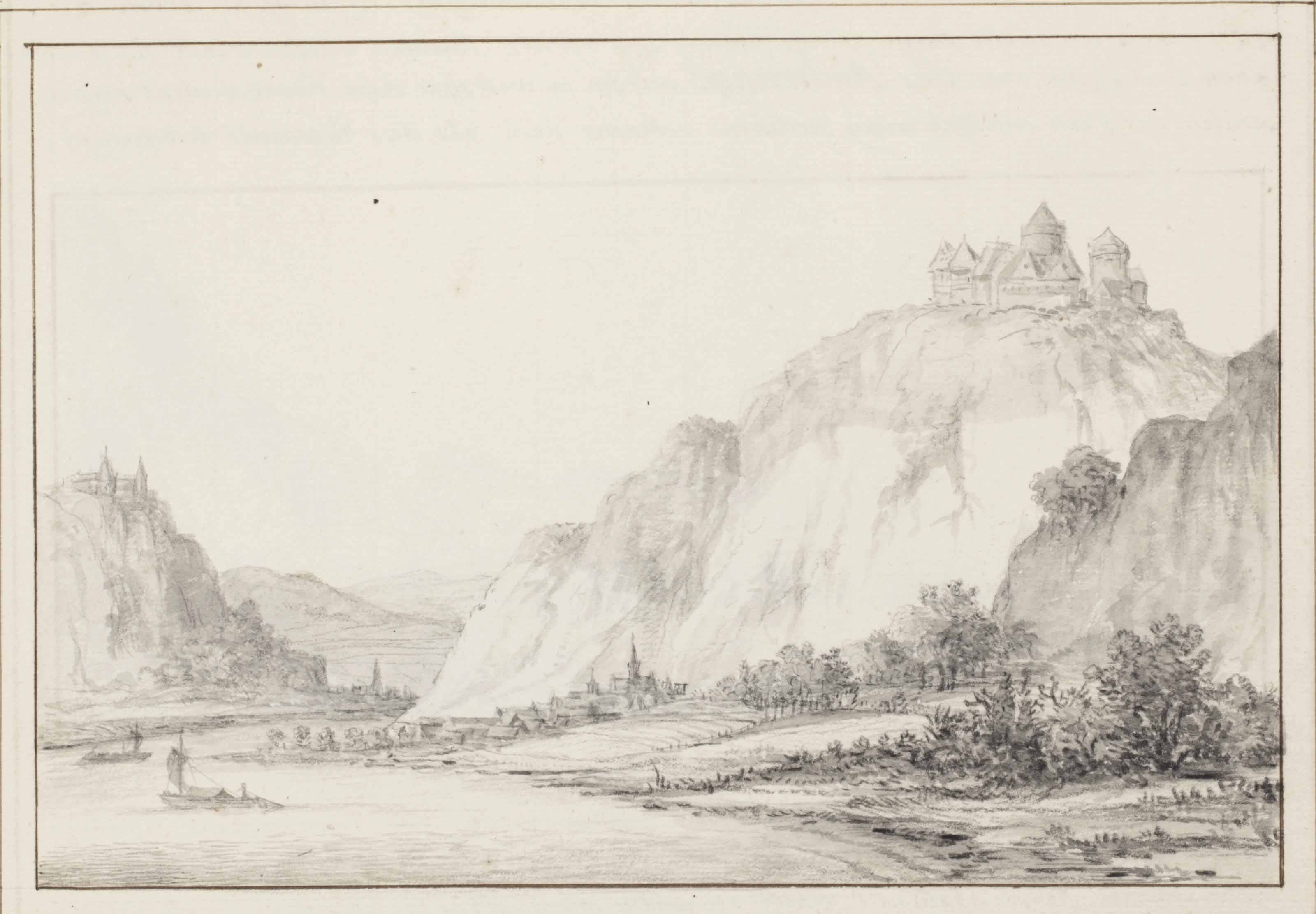 A double-sided sketchbook sheet: View of Hammerstein (recto); View near Andernach (verso) (pl. 16)