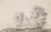 Study of a group of trees in a sloping landscape