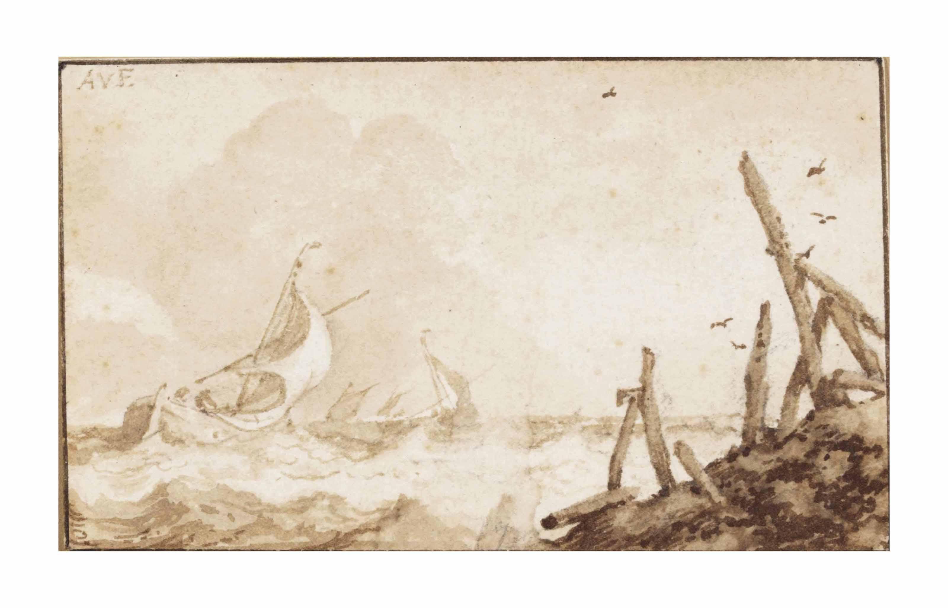 Fishing boats offshore in choppy seas