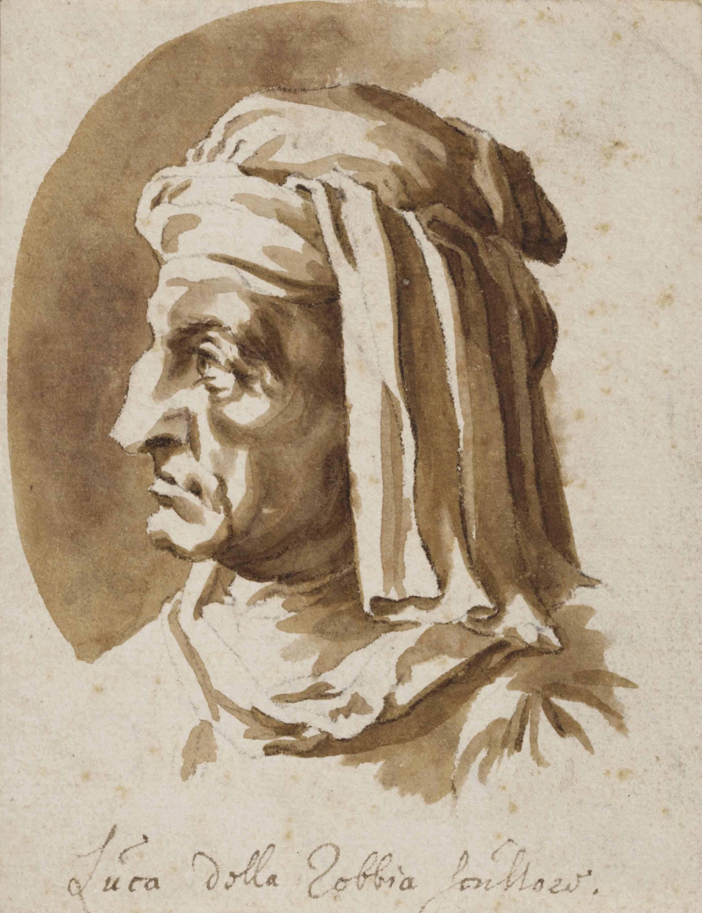 Portrait bust of Luca della Robbia, after Giorgio Vasari