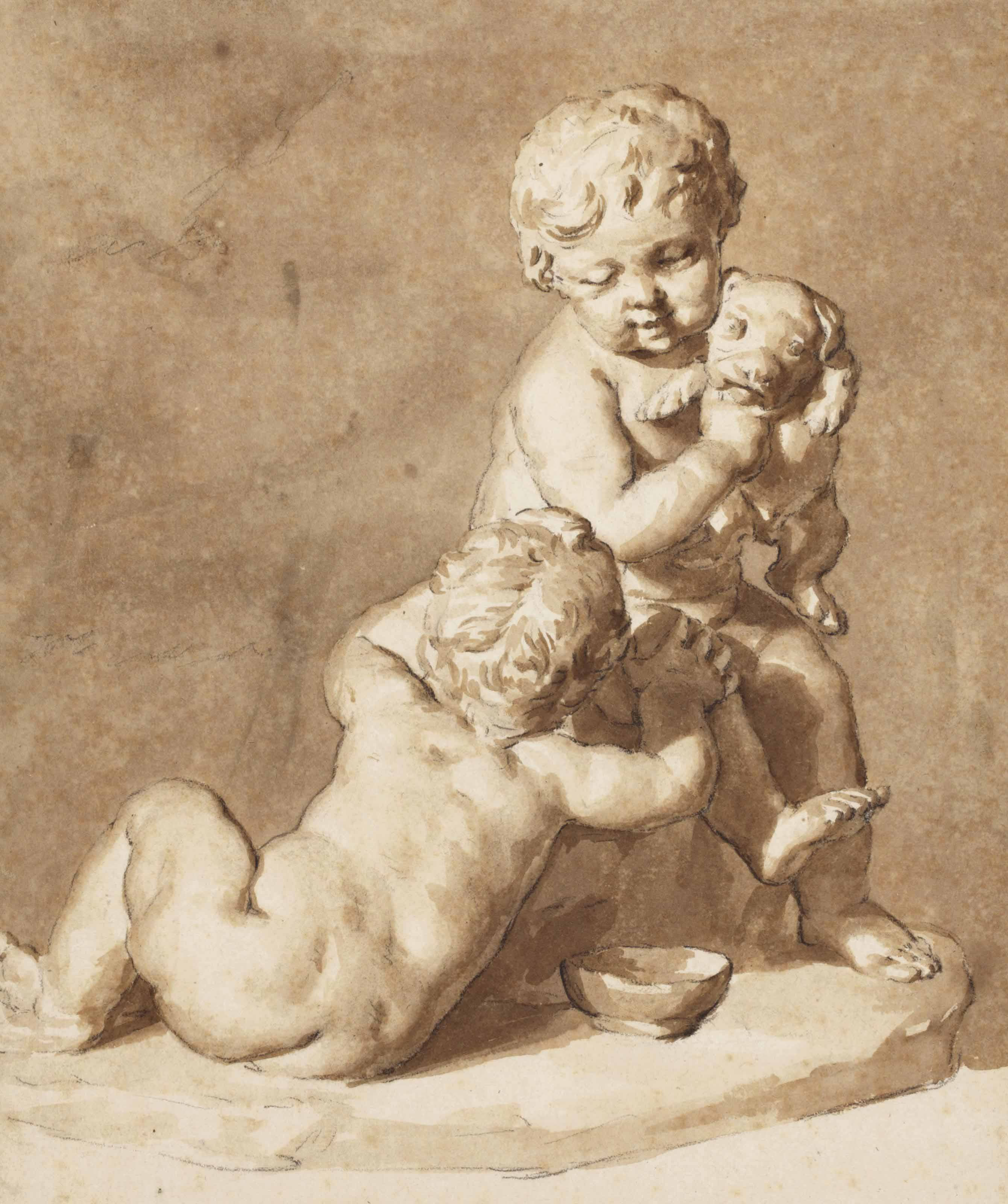 Two children and a dog, after a sculpture possibly by François Duquesnoy; A partial study of the same subject
