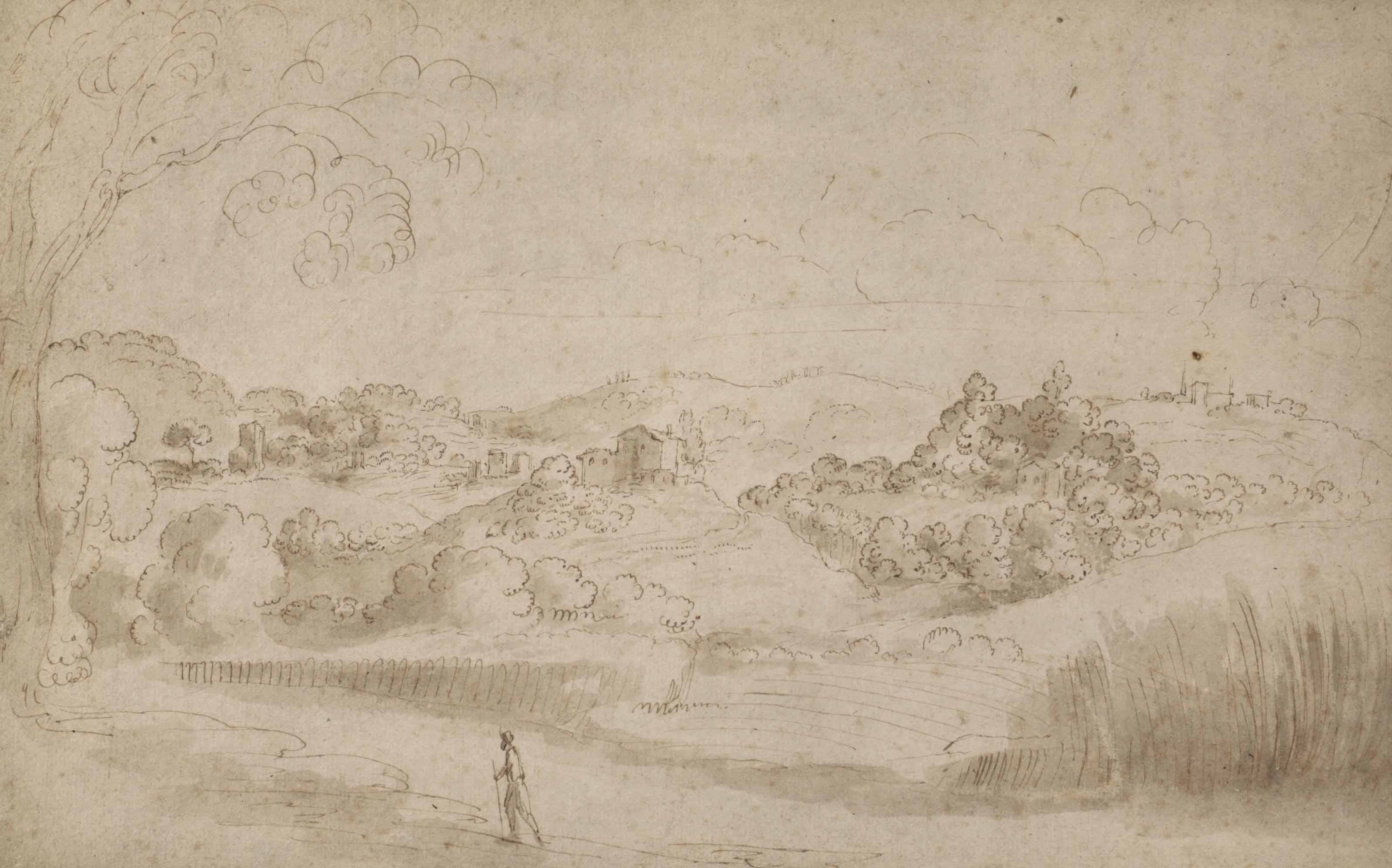 A hilly Italian landscape with a traveller in the foreground