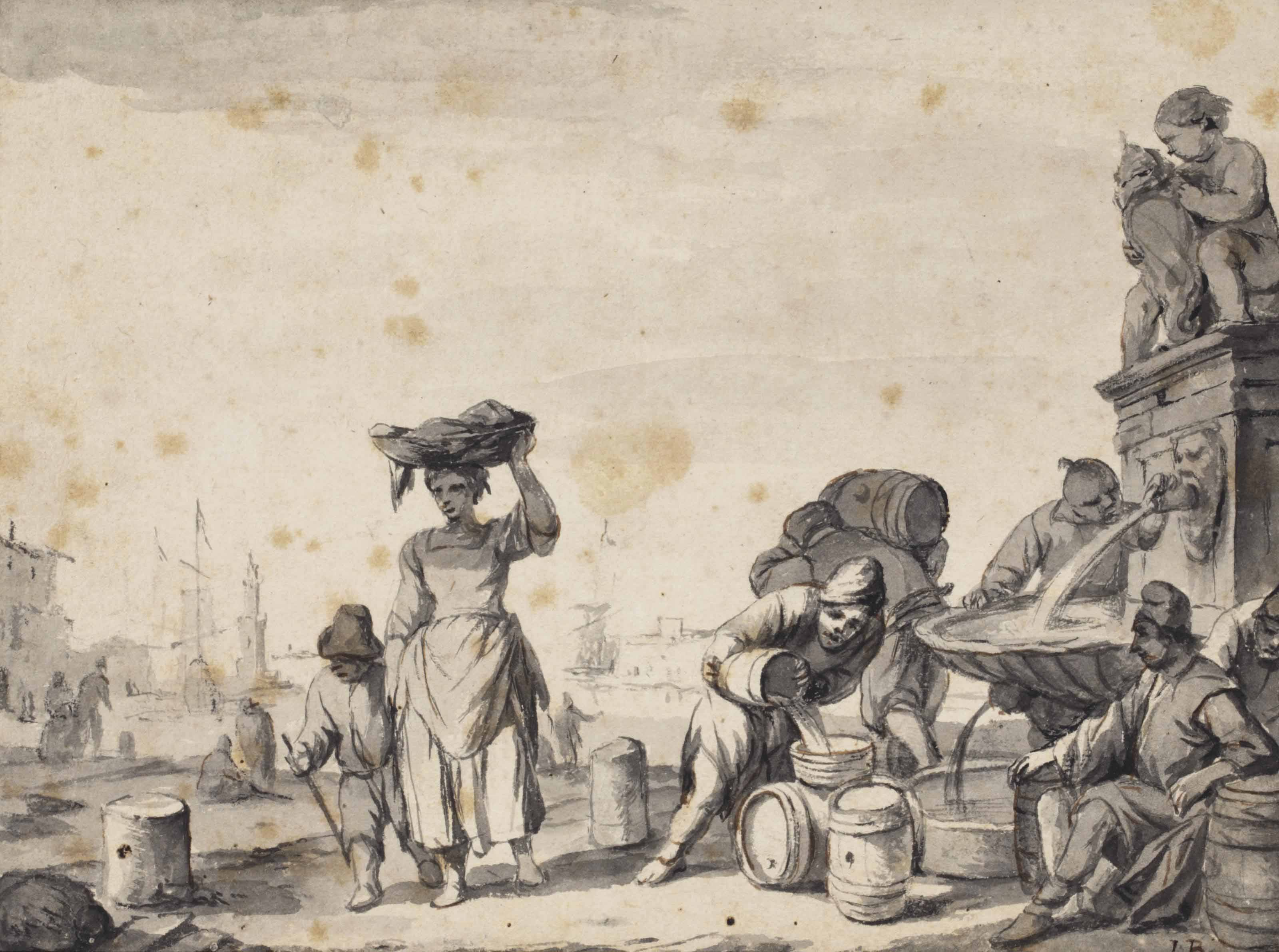 View of a Mediterranean port with figures filling barrels from a fountain