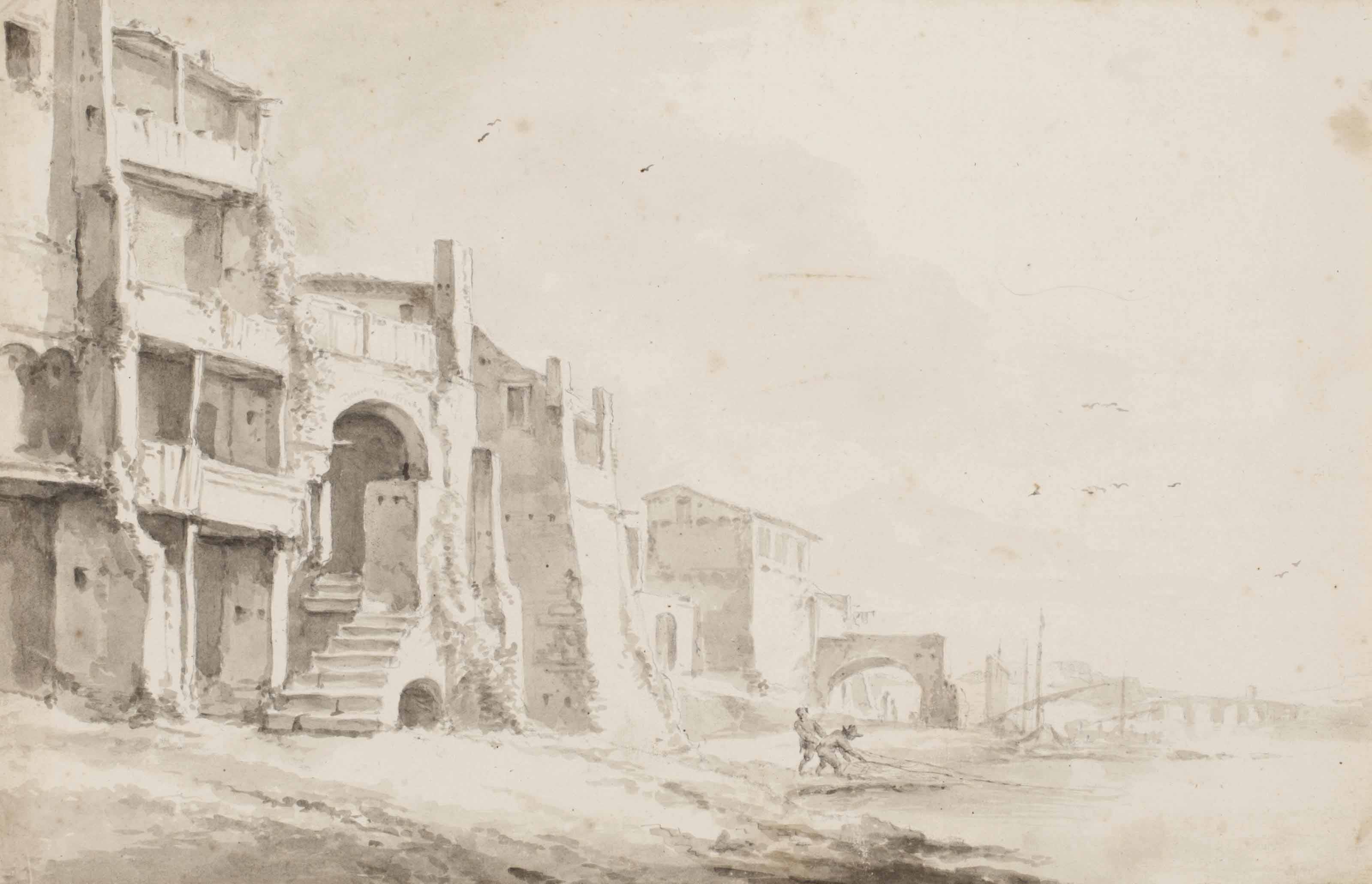 View of buildings beside a river, probably the Tiber (recto); faint traces of a study in black chalk (verso)
