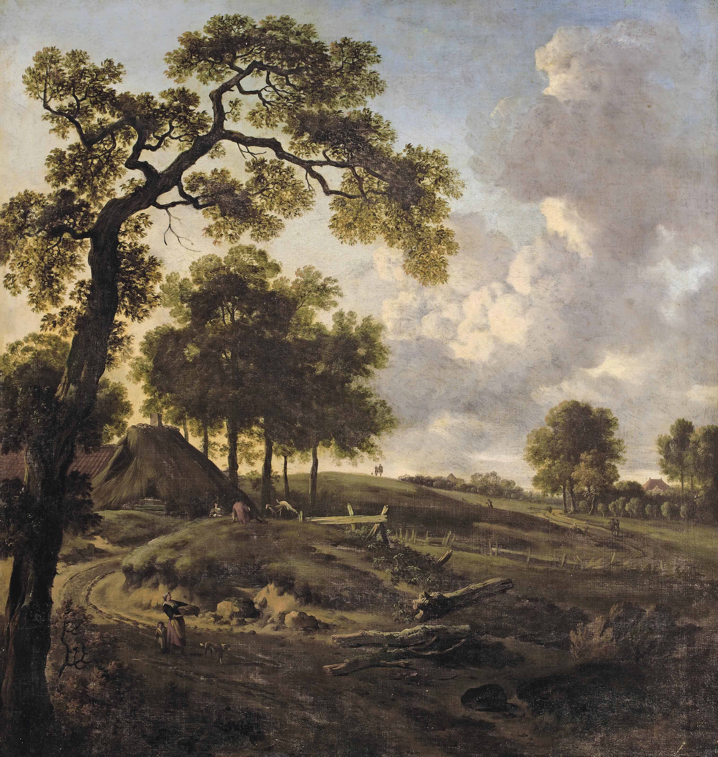 A dune landscape with figures on a winding path, cottages beyond