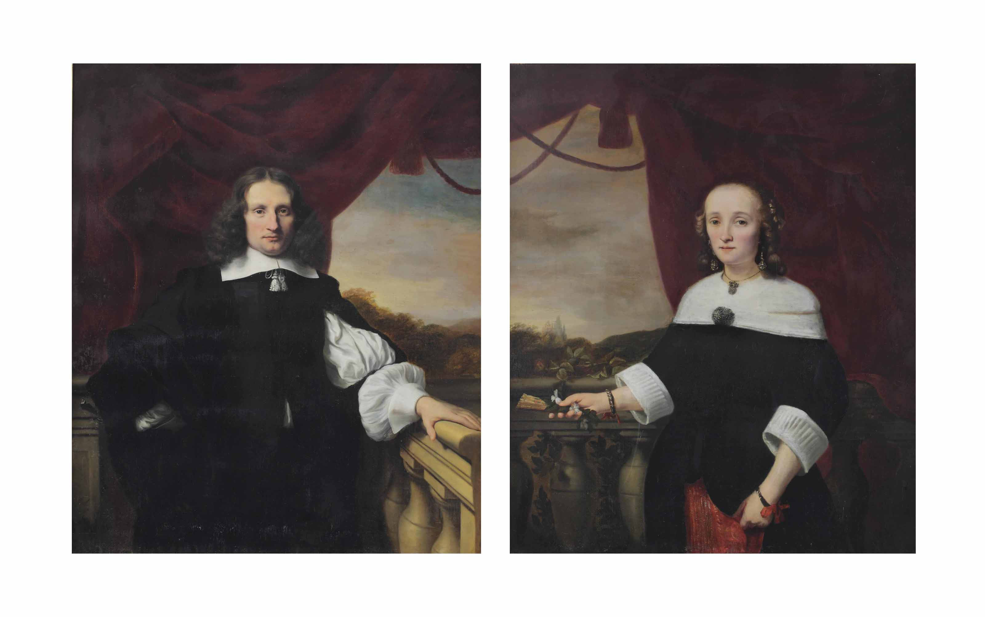 Portrait of Pieter Bouwens (1621-1680), three-quarter length, in a white chemise and black costume standing before a curtain on a balcony; and Portrait of his wife Anna Maria van Nutt (1622-1686), three-quarter length, in a red embroidered and black dress with white ruffs and collar, holding a fan and standing before a red curtain on a balcony