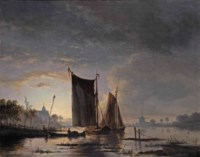 Boats on a moonlit river