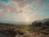 A landscape with a couple at sunset
