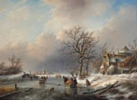 A winter landscape with activities on the ice