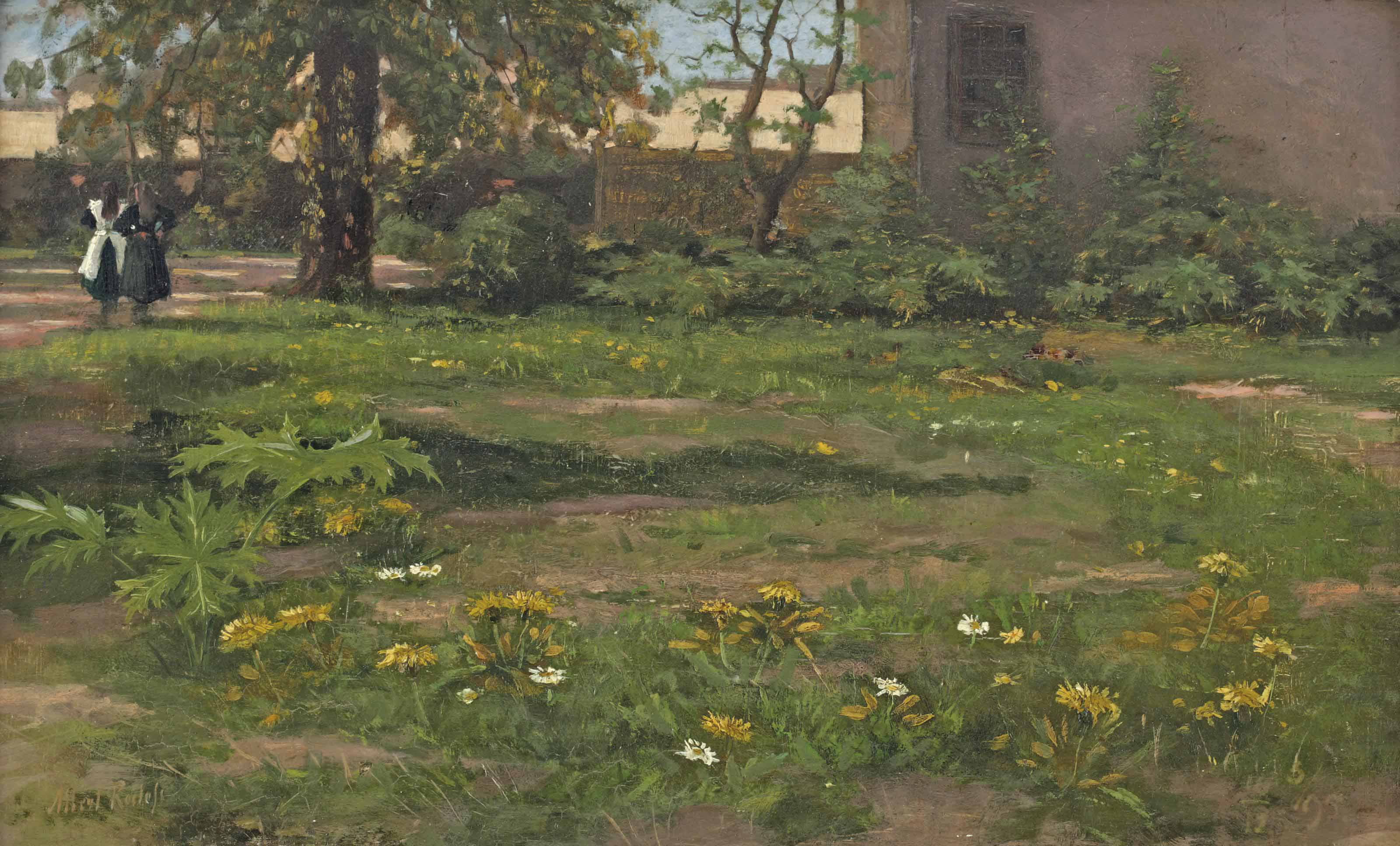 Girls in a spring garden
