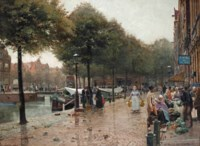 A busy day on the market, Amsterdam