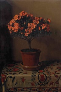 Pot met roode azalia's: red azalea in a pot