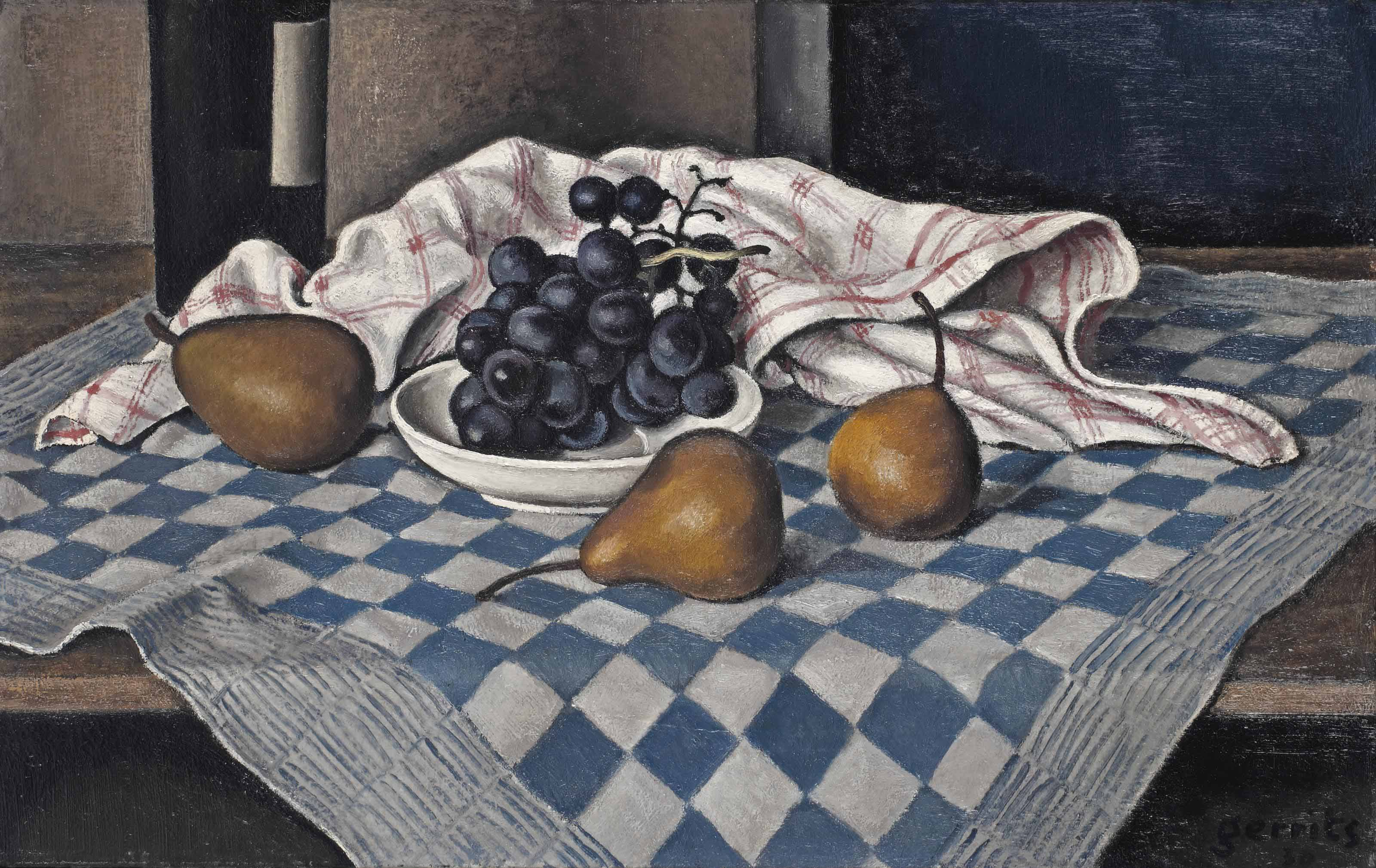 A still life with grapes and pears
