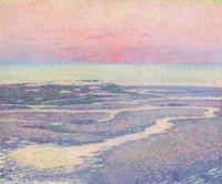 Plage à marée basse, soir