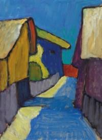 Dorfstrasse in Blau