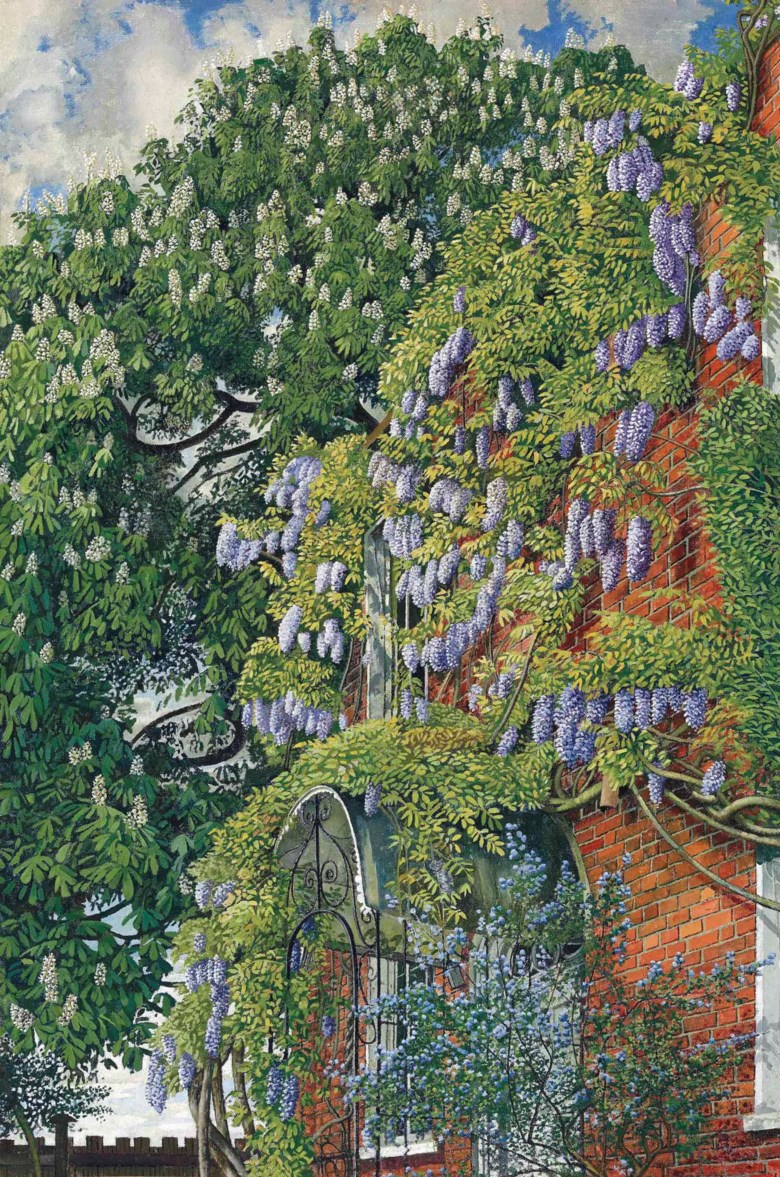 Sir Stanley Spencer, R.A. (1891-1959), Wisteria at Englefield, 1954. Oil on canvas. 30 x 20  in (76.3 x 50.8  cm). Sold for £962,500 on 25 June 2015 at Christie's in London. Artwork © Stanley Spencer Gallery, Cookham, Berkshire, UK  Bridgeman Images