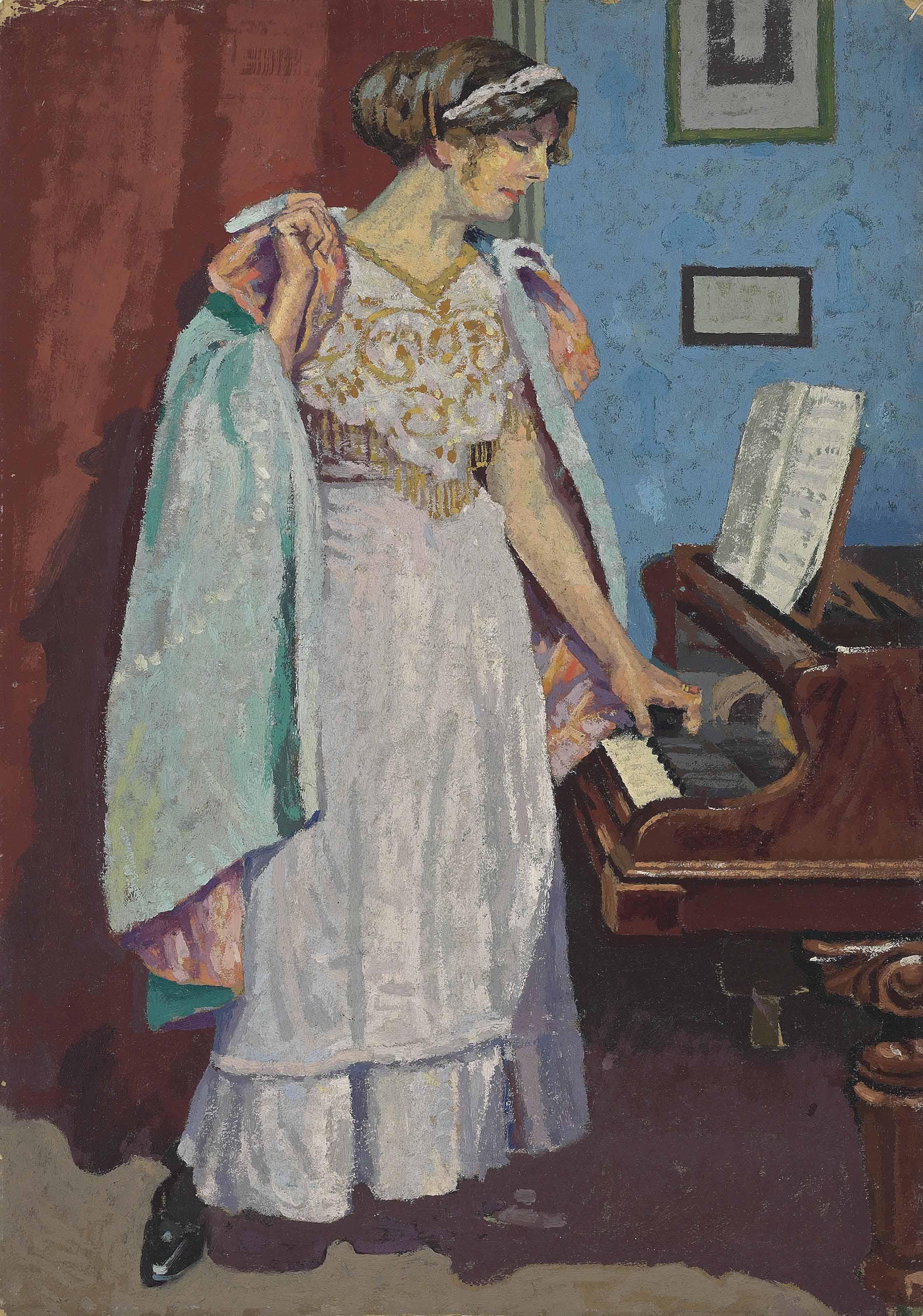 Arabesque at the piano; Zina Ogilvie, the artist's wife