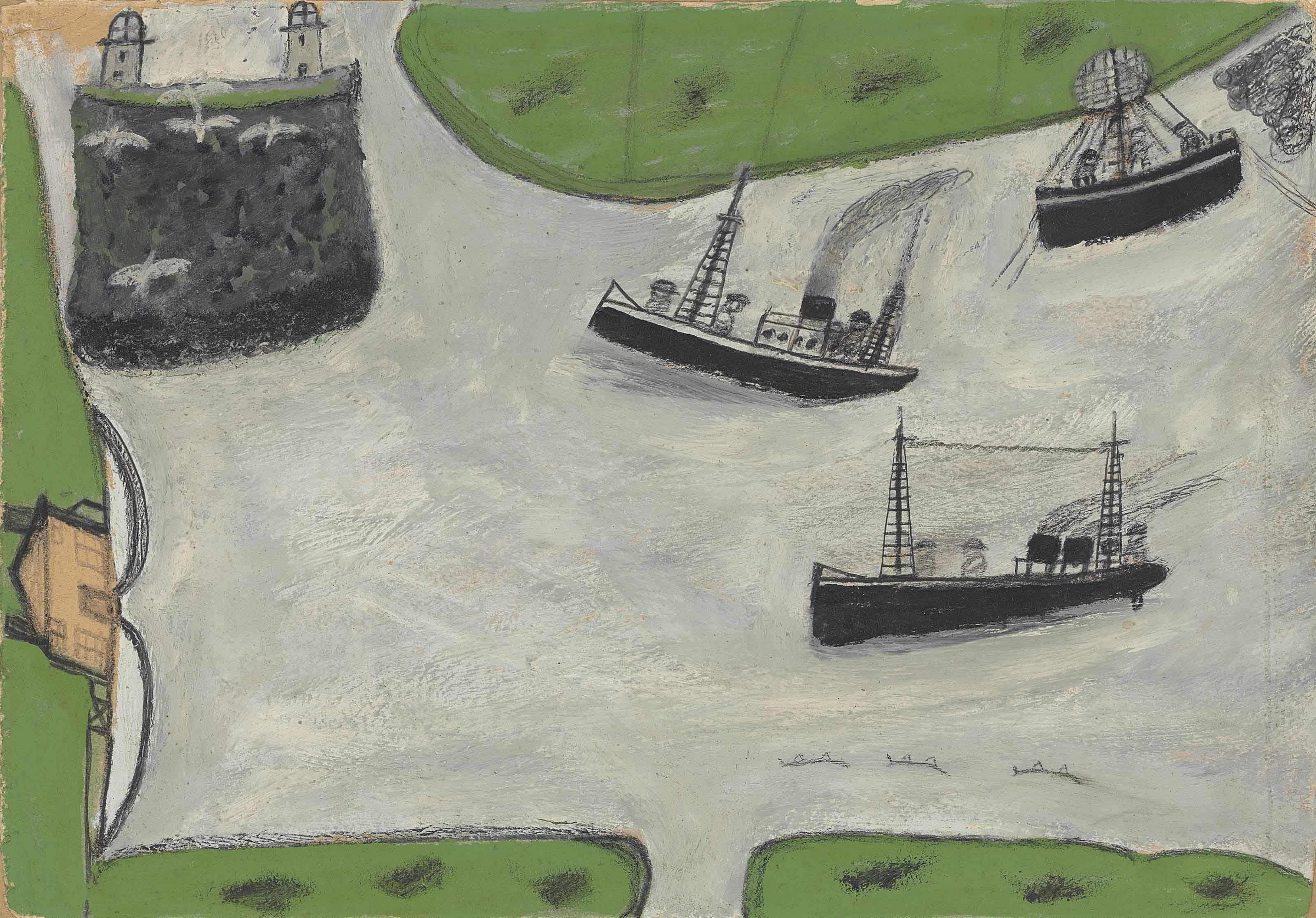 Two steamers and lighthouses and estuary