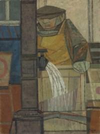 Man washing fish boxes