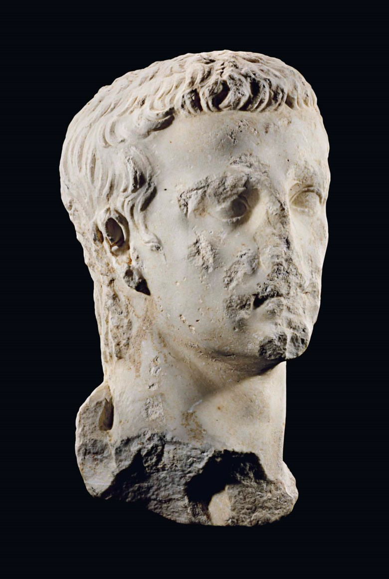 A Roman marble portrait of the emperor Gaius, known as Caligula, 37-41 AD. 15  in (38.1  cm) high. Sold for £206,500 on 15 April 2015 at Christie's in London