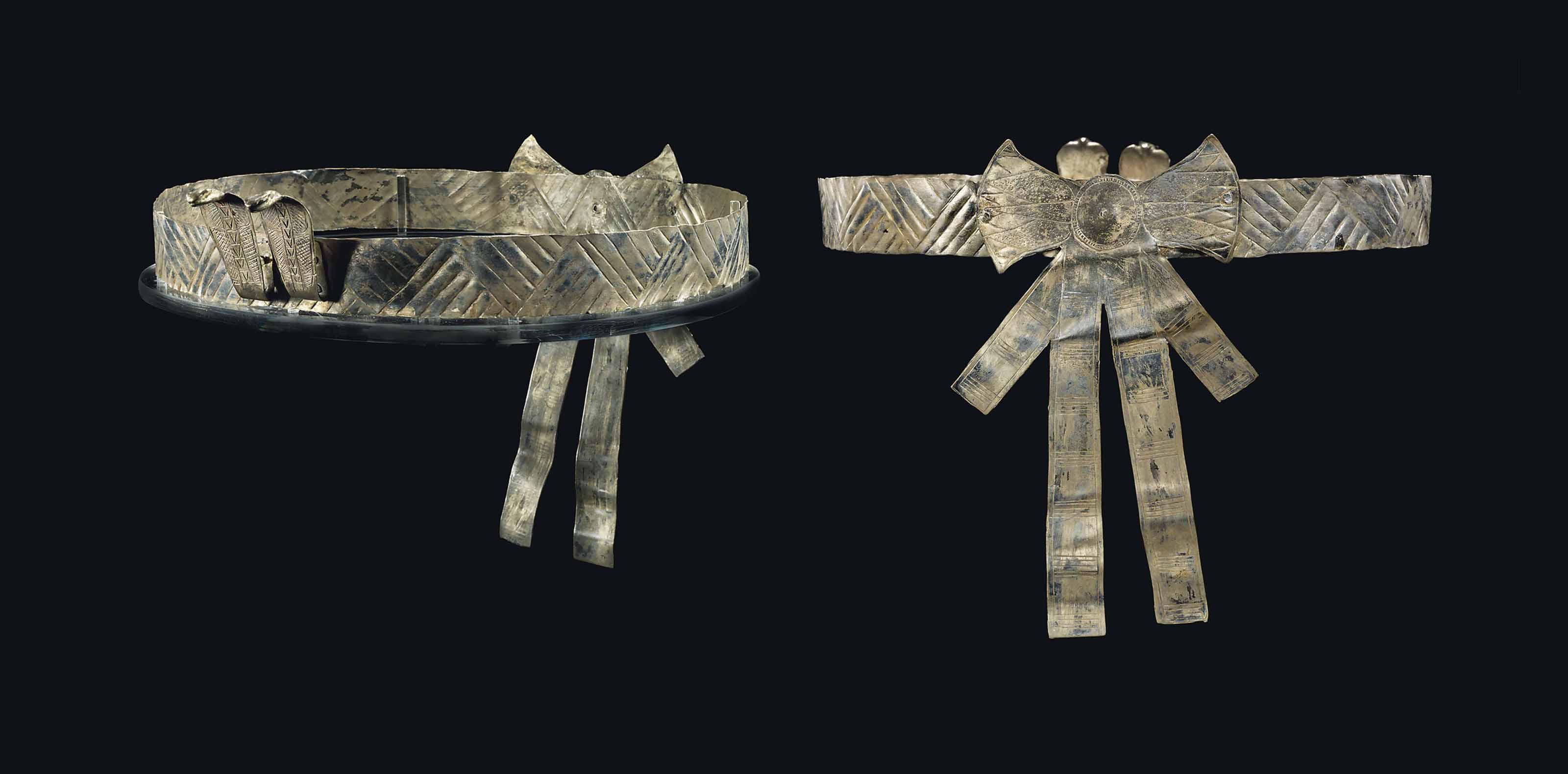 AN EGYPTIAN SILVER ROYAL DIADEM