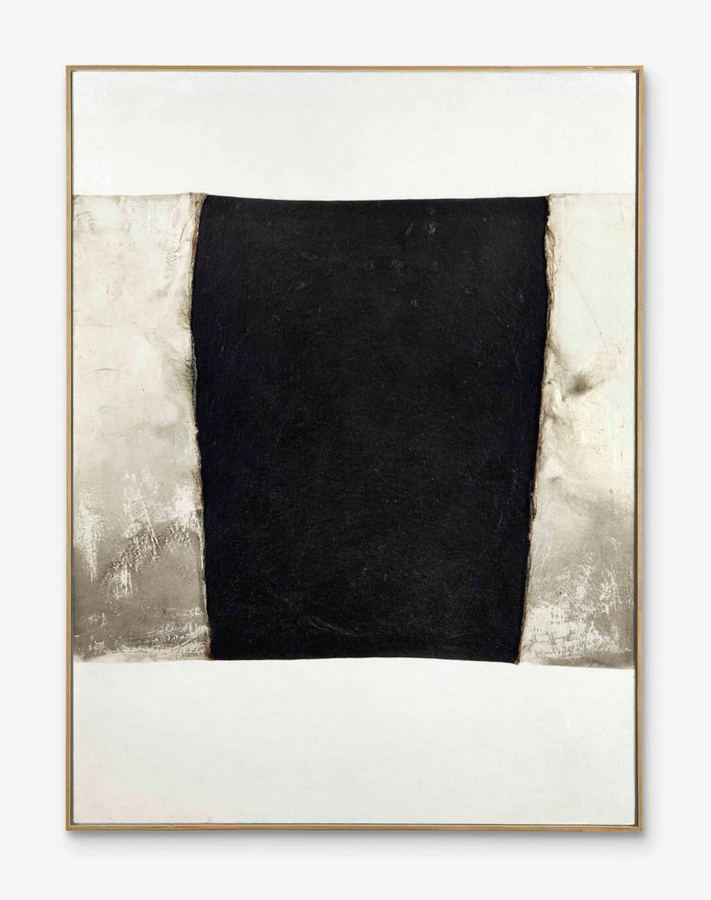 Alberto Burri (1915-1995), Bianco plastica P, 1970. Plastic, acrylic, combustion, vinavil on cellotex. 78¾ x 59 in (200 x 150 cm). Sold for £2,210,500 on 30 June 2015  at Christie's in London © Fondazione Palazzo Albizzini Collezione Burri, Città di Castello – DACS 2018
