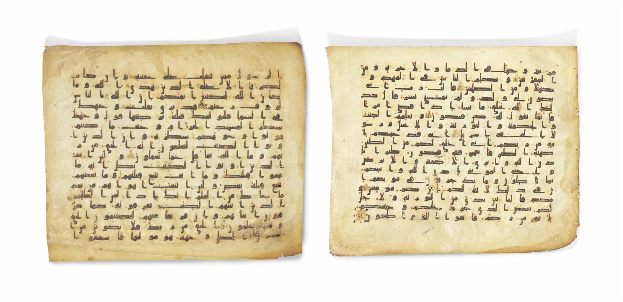 TWO KUFIC QUR'AN FOLIOS