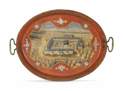 AN OTTOMAN PAINTED METAL TRAY