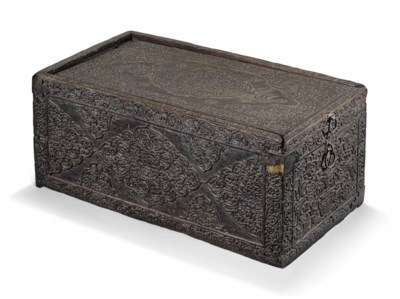 A WOODEN SCRIBE'S BOX