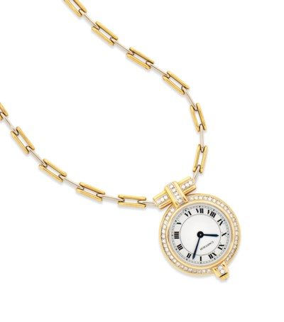 A PENDANT WATCH AND LONGCHAIN