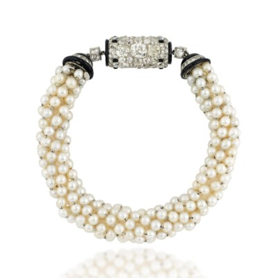 AN ART DECO PEARL, ENAMEL AND