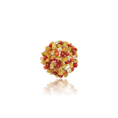 A CORAL AND DIAMOND BROOCH, BY