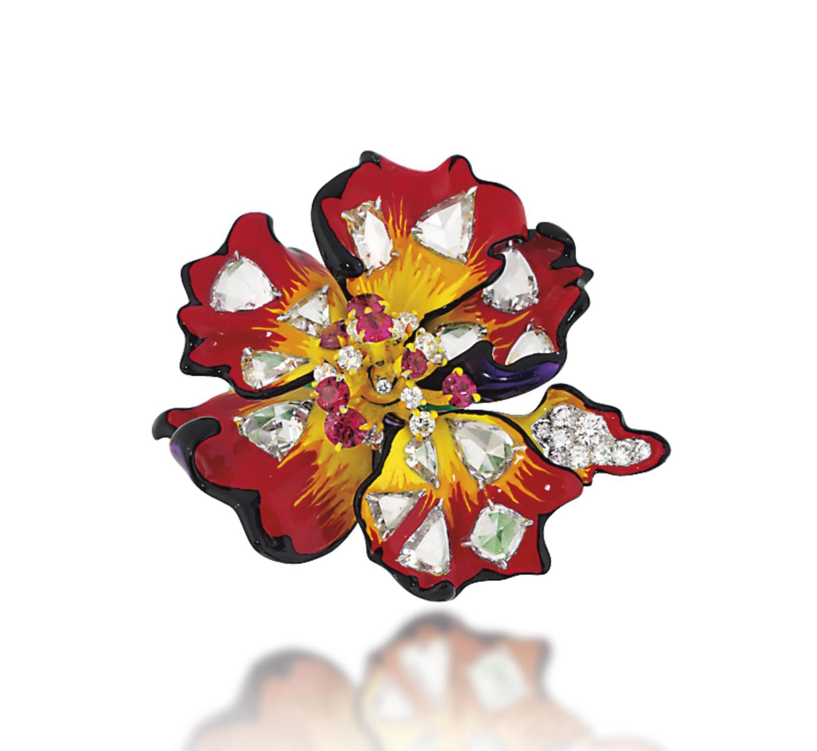 A LACQUER AND DIAMOND 'EGRATIGNA CHIPIE' 'MILLY CARNIVORA' RING, BY CHRISTIAN DIOR