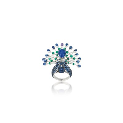 A GEM-SET 'PEACOCK' RING, BY B