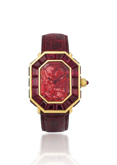 A UNIQUE RUBY SKELETONISED WRI