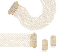 A SUITE OF CULTURED PEARL AND DIAMOND JEWELLERY, BY TABBAH