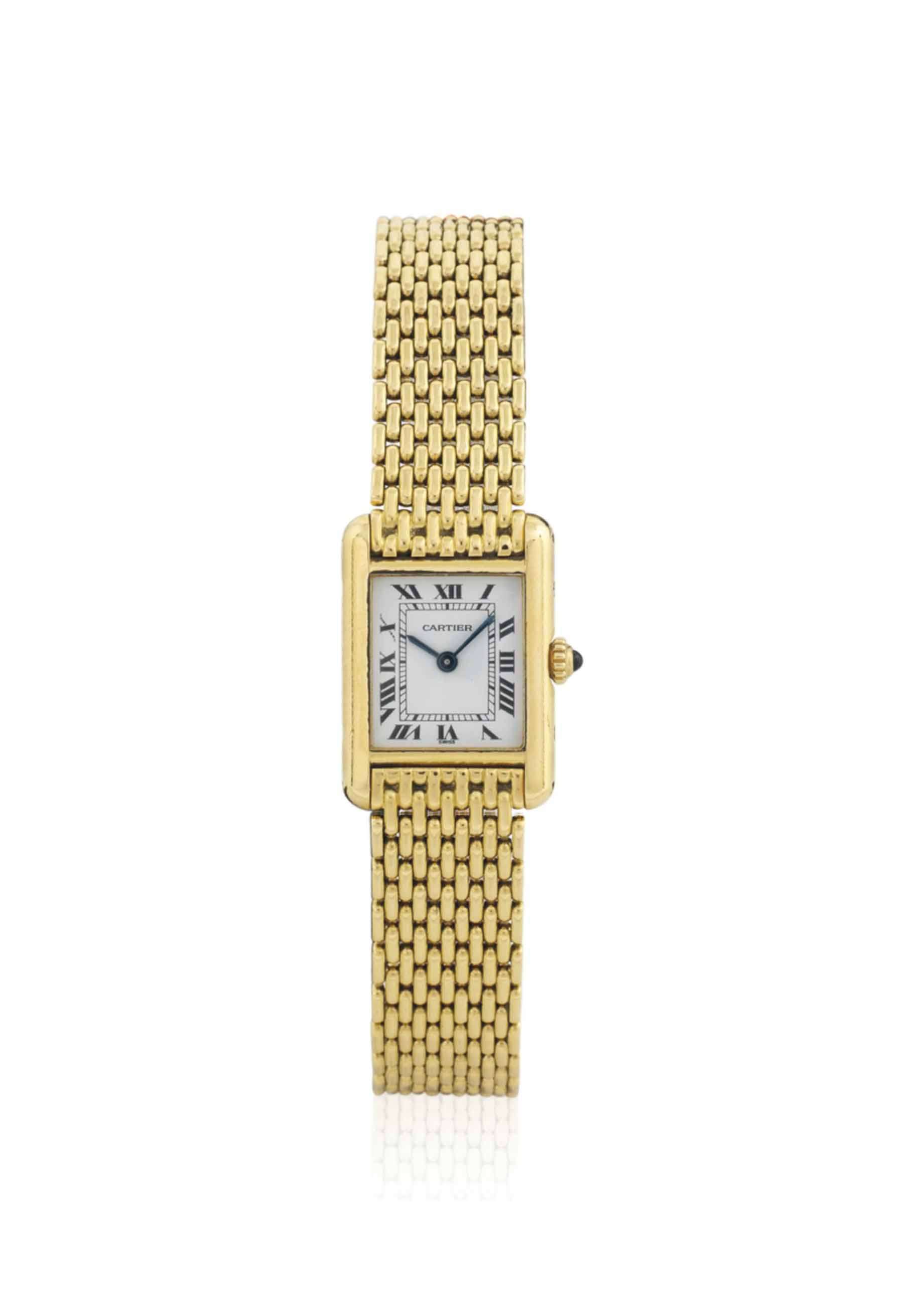 18 Carat Rose Gold: A LADY'S 18 CARAT GOLD 'TANK' WRISTWATCH, BY CARTIER