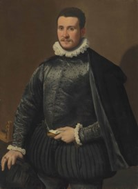 Portrait of a gentleman, three-quarter-length, in a black embroidered silk doublet and cloak, with a ruff, holding gloves and a letter in his left hand, a lute on the table